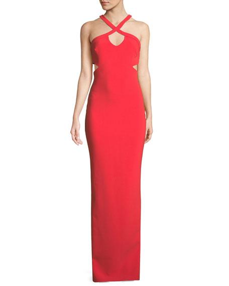 Caroline Halter Gown w/ Crisscross Straps