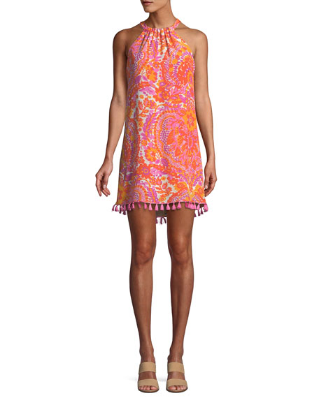 Trina Turk Rancho Halter Dress w/ Tassel Trim