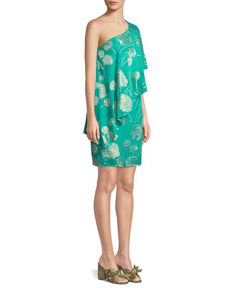 Olivos One-Shoulder Tossed Flowers Dress