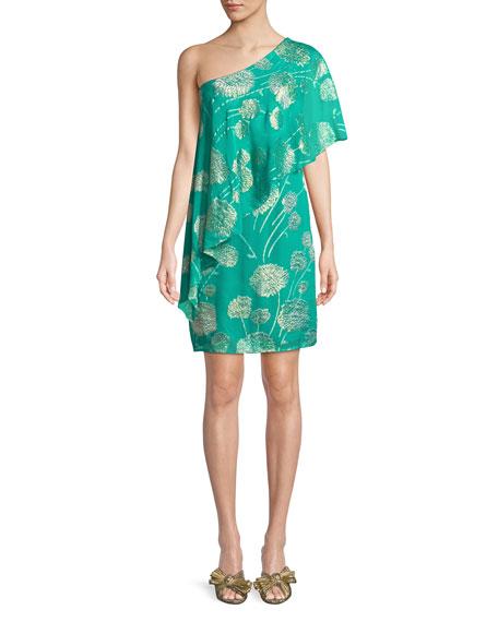 Trina Turk Olivos One-Shoulder Tossed Flowers Dress