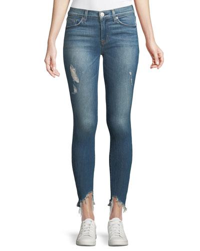 Nico Mid-Rise Skinny Jeans w/ Raw Zip Hem
