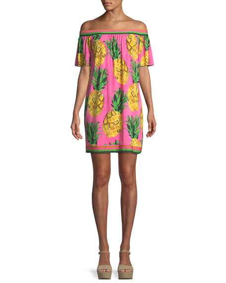 Kelso Matte Jersey Off-the-Shoulder Pineapple Dress