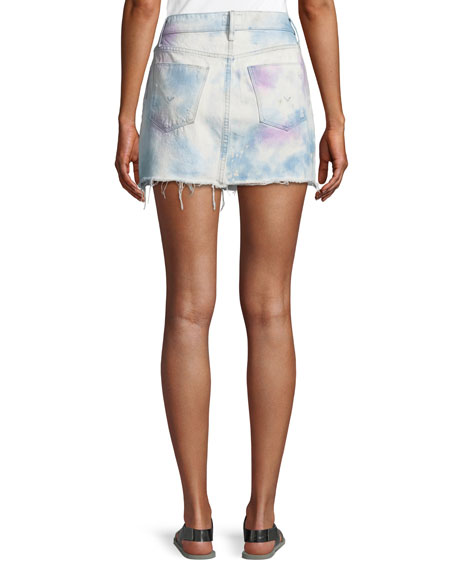 Vivid Bleached Viper Denim Mini Skirt