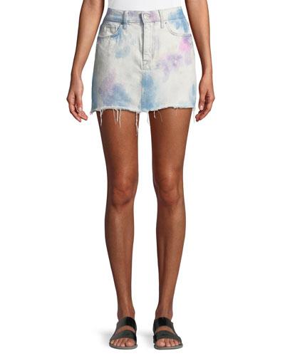 Vivid Bleached Viper Denim Mini Skirt