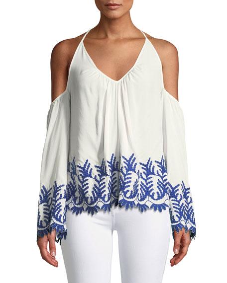 Damaris Cold-Shoulder Embroidered Halter Top