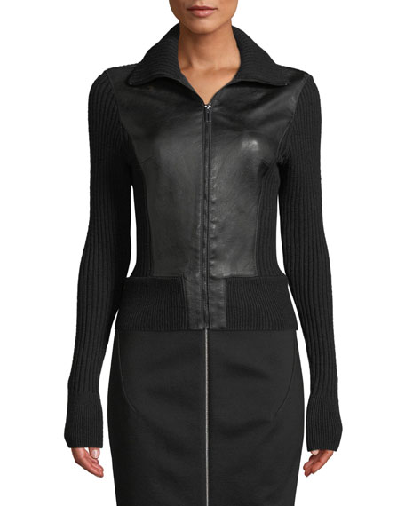Evita Zip-Front Leather & Ribbed Wool Jacket