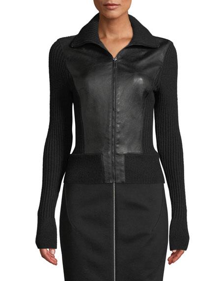 Elie Tahari Evita Zip-Front Leather & Ribbed Wool