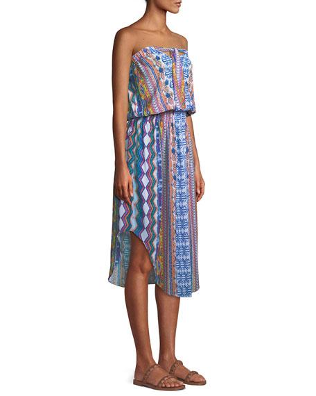 Lisanne Printed Strapless Midi Dress