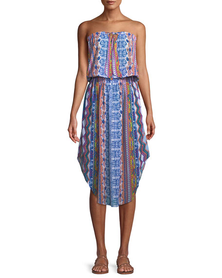 Lisanne Printed Strapless Midi Dress by Neiman Marcus