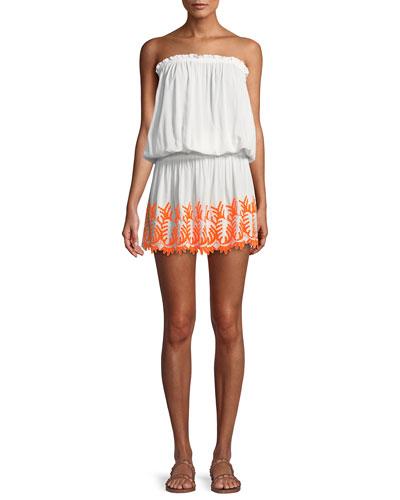 Marnie Embroidered Strapless Mini Dress