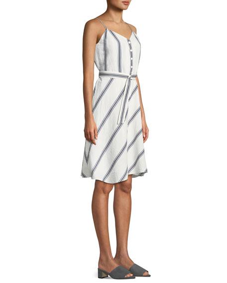 Doris Striped Cotton/Linen Button-Front Dress