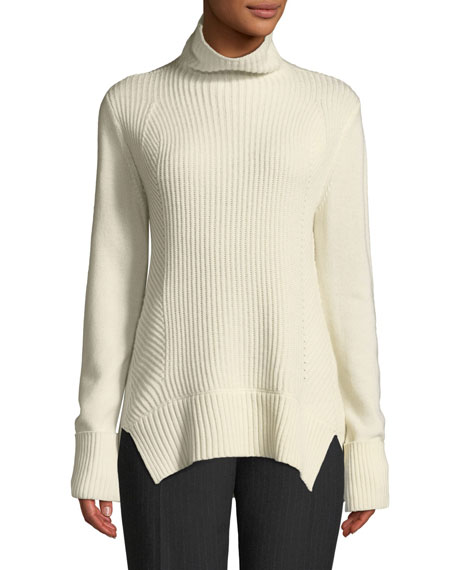 Tamaya Ribbed Wool-Cashmere Pullover Turtleneck Sweater