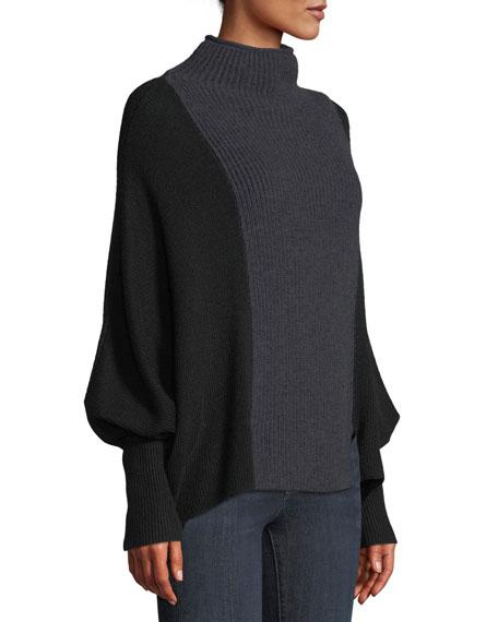 Dorita High-Neck Blouson-Sleeve Colorblocked Merino Sweater