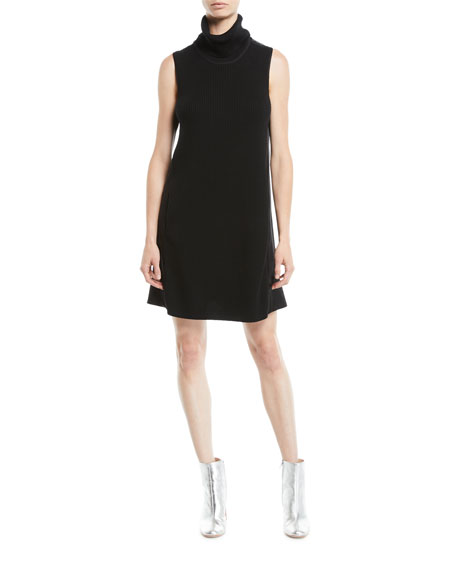 Elie Tahari Sonya Turtleneck Sleeveless Merino Wool Satin-Back