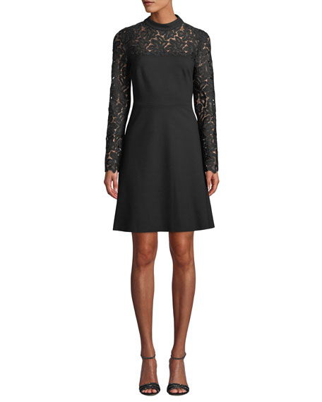 Elie Tahari Jenessa Lace-Yoke A-Line Dress