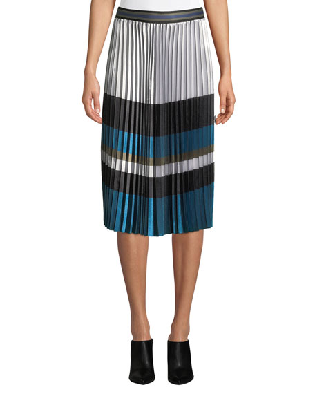 Elie Tahari Tamsen Colorblock Pleated Skirt