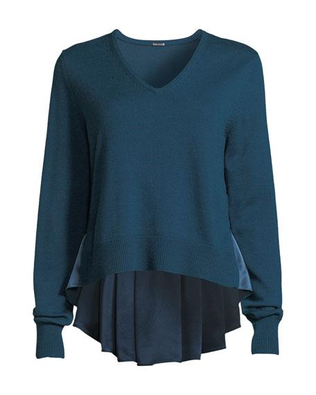 Deangelo V-Neck Merino Wool Sweater w/ Contrast Back Hem