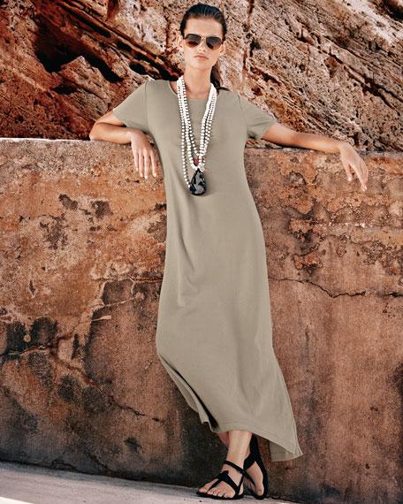 Short-Sleeve A-line Long Dress, Plus Size