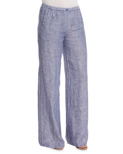 Drifty Linen Wide-Leg Pants, Indigo Mix, Petite