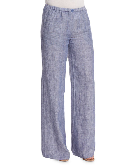 NIC+ZOE Drifty Linen Wide-Leg Pants, Indigo Mix, Petite