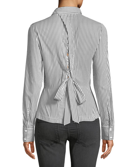 Spell On You Long-Sleeve Striped Cotton Shirt w/ Lace-Up Back