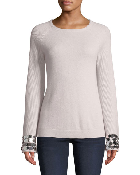 Neiman Marcus Cashmere Collection Cashmere Payet-Cuff Sweater