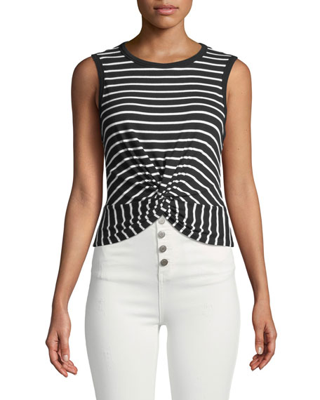 Twist Shout Crewneck Sleeveless Striped Top