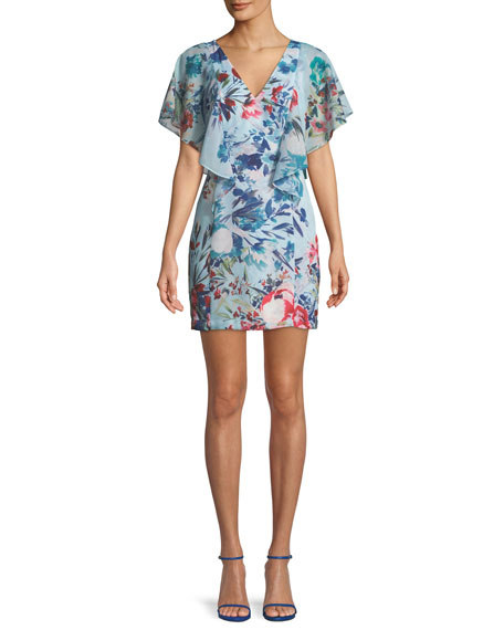 Parker Black Reba Floral Flutter-Sleeve Mini Dress