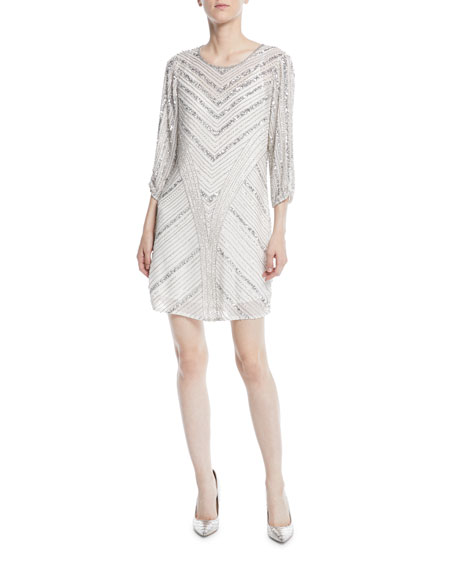 Tetra Long-Sleeve Beaded Mini Dress