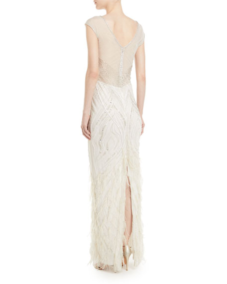 Allie Beaded Gown w/ Feather Detailing