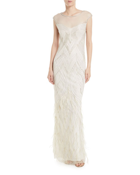 Parker Black Allie Beaded Gown w/ Feather Detailing
