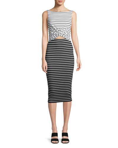 Rabbit Hole Striped Midi Dress