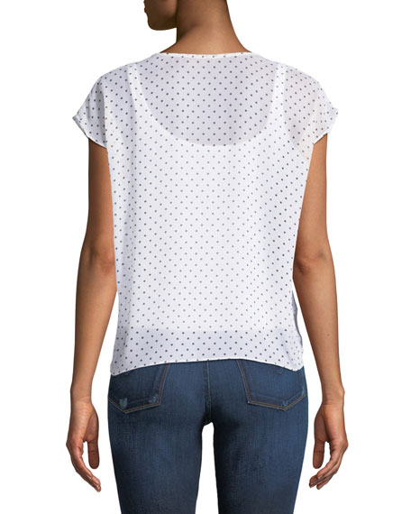Happy Together Dot-Print Tie-Front Top