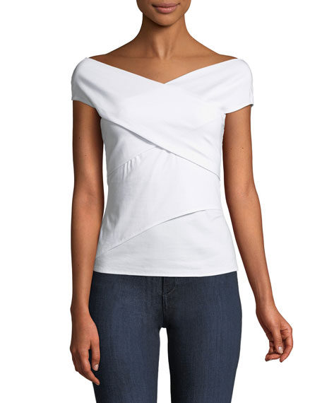 Twist-Again Bateau-Neck Fitted Crossover Top