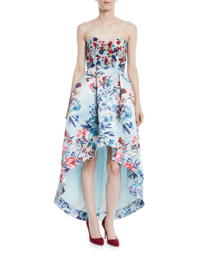 Roxanne Strapless High-Low Floral-Print Gown w/ Beaded Bodice