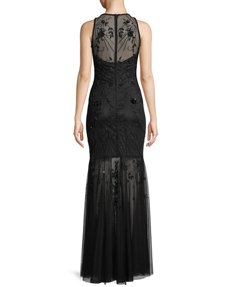 Monique Beaded Halter Gown