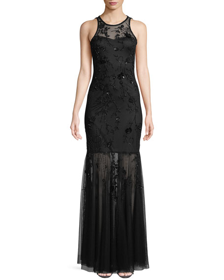 Parker Black Monique Beaded Halter Gown