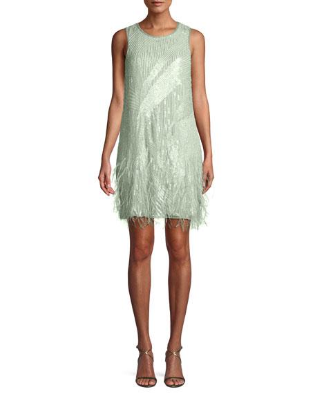Allegra Sequin Mini Cocktail Dress w/ Feathers