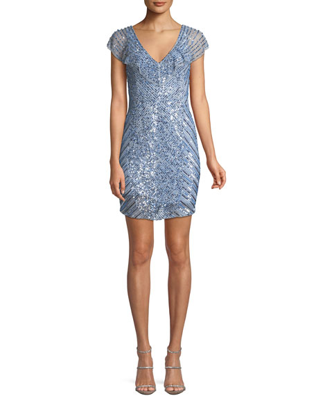 Daley Mini Cocktail Dress w/ Beaded Caplet