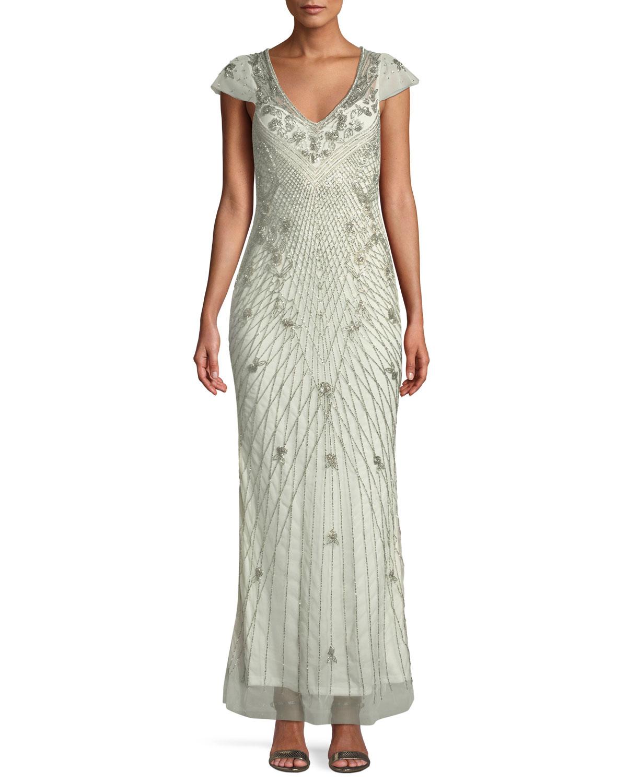 Parker Black Conzuelo V-Neck Beaded Gown | Neiman Marcus