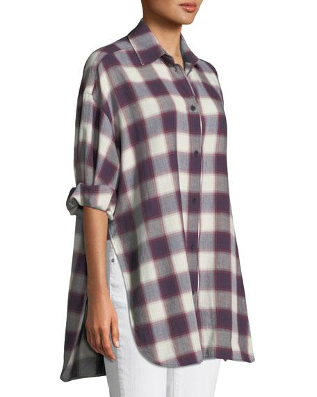 Clive Button-Down Oversized Plaid Shirt w/ Back Slit