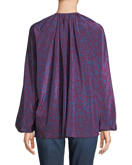 Chance Long-Sleeve Floral Silk Tie-Neck Top