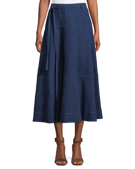 Leila Seamed Cotton Midi Skirt