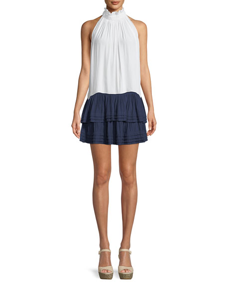 Lilo Smocked-Waist Tiered Mini Skirt