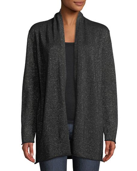 Open-Front Metallic Cashmere Cardigan