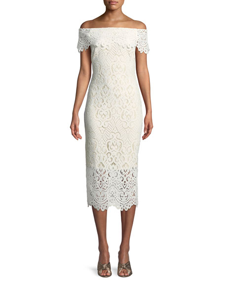 Shoshanna Madison Lace Off-the-Shoulder Dress
