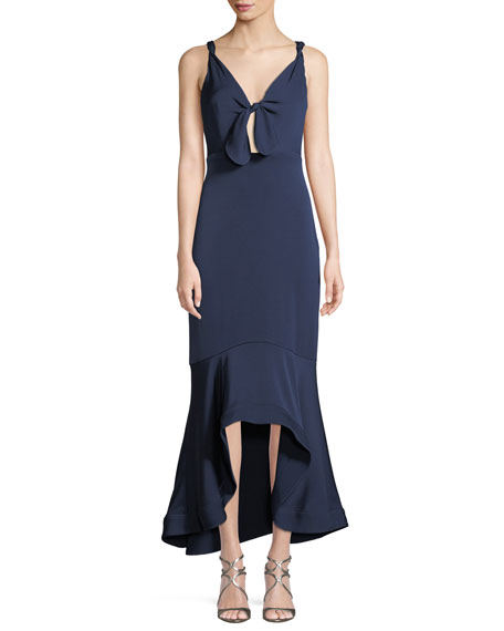 SHOSHANNA Ibiza High-Low Mermaid Gown in Navy