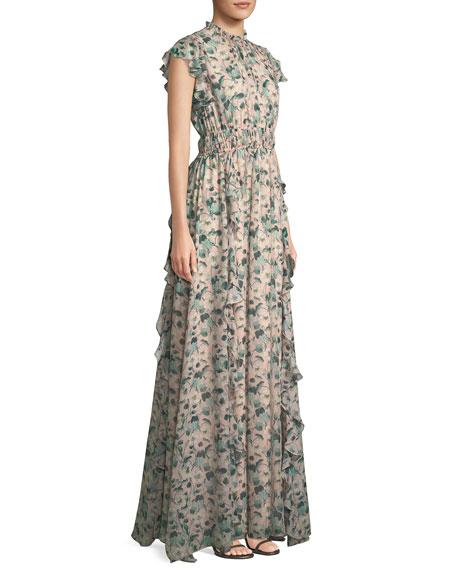 Triana Floral Gown w/ Ruffles
