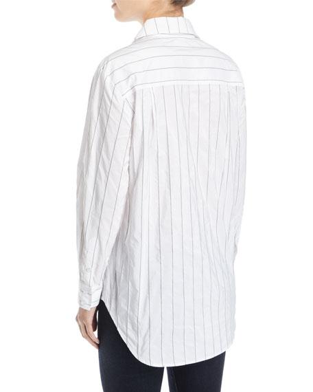 Monica Tech Pinstriped Boyfriend Shirt