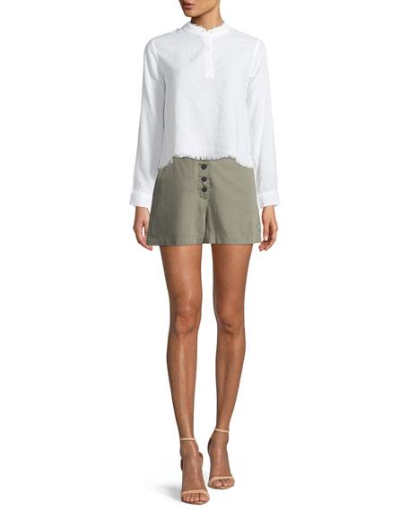 Cortlandt Alley Button-Front High-Waist Shorts